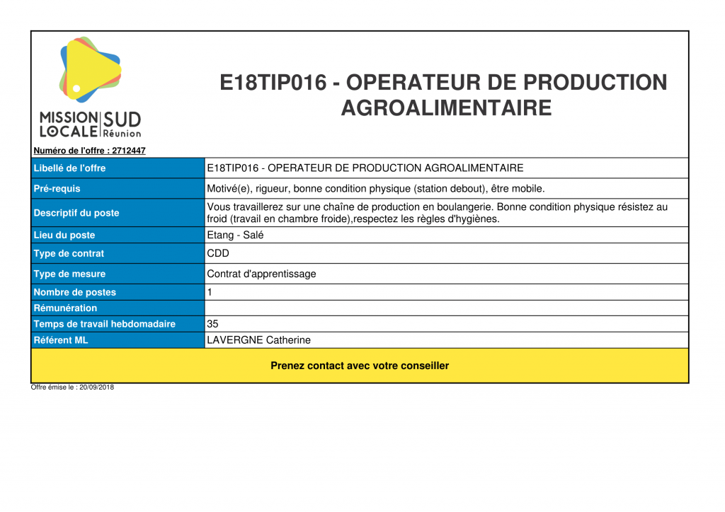 e18tip016  u2013 operateur de production agroalimentaire  u2013 mission locale sud