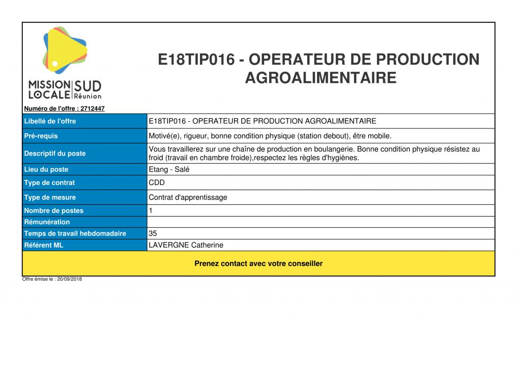 e18tip016  u2013 operateur de production agroalimentaire  u2013 mission locale sud